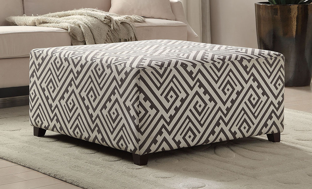GEO Cocktail Ottoman in Grey and White